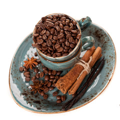 Coffee beans, vanilla, cinnamon and star anise