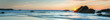 Sunset over Sea, colorful, very long panoramic