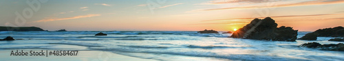 Fotobehang Zonsondergang op het Strand Sunset over Sea, colorful, very long panoramic