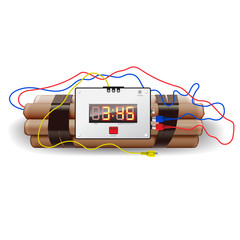 Explosives with alarm clock, isolated on white