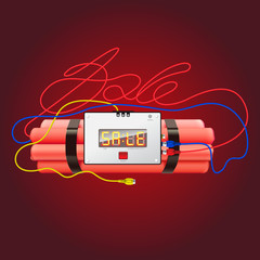 Sale poster with explosives alarm clock