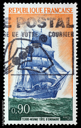 France, circa 1972 - Stamp printed in France with image of ship