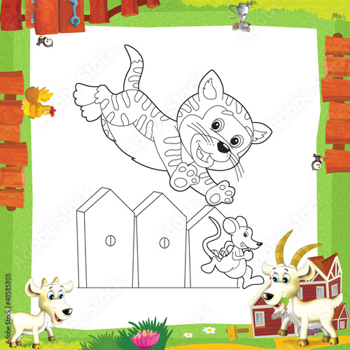 Poster Doe het zelf The coloring plate - illustration for the children