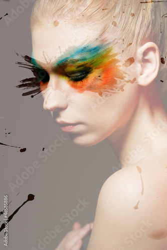Colourful makeup with adding splashes and strokes