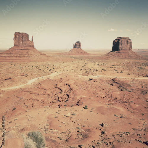 view of famous landscape of Monument Valley