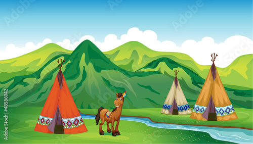 Papiers peints Indiens Tents and a smiling horse