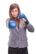 Businesswomen boxing