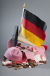 Robbed piggy bank of Germany with hammer