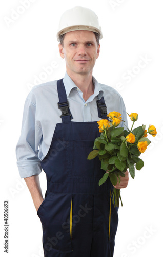 Contractor with bouquet against white background
