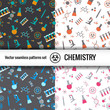 Chemistry symbol seamless patterns set