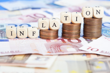 Inflation concept with Euro money