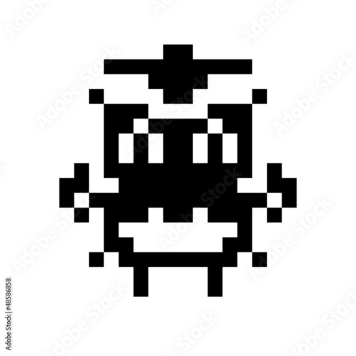 Foto op Canvas Pixel simple monster pixel face
