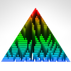 gradient colored triangle technological structure