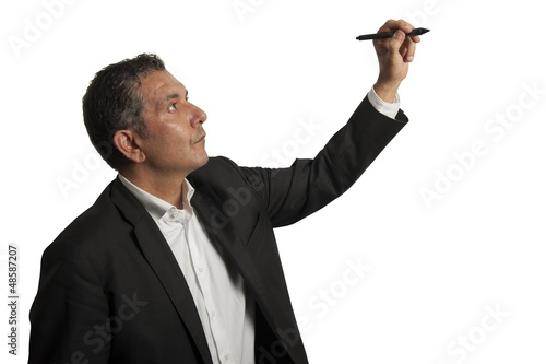Businessman drawing on wihteboard