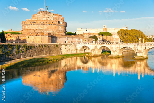 View on famous Saint Angel castle and bridge over the Tiber rive
