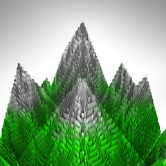 abstract green mountains structure covered ice