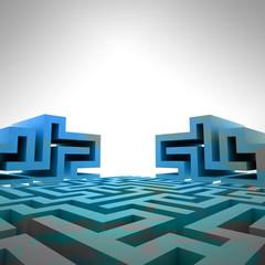 blue three dimensional maze structure template