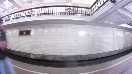Train arrives on metro station Komsomolskaya and leaves