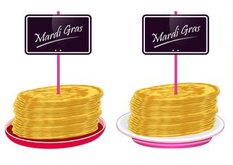 Assiettes de crêpes avec pancarte Mardi Gras - Chandeleur