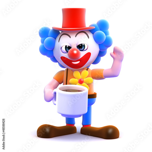 Clown takes a break with a cup of tea