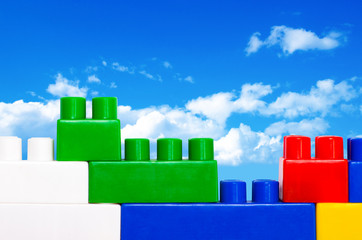 Plastic construction blocks