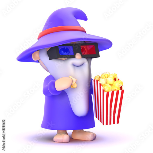 Wizard is at the movies with popcorn
