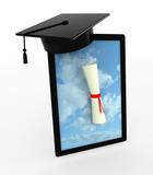tablet pc with Graduation Cap and Diploma on the screen