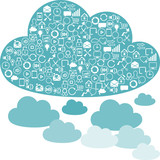 Social network clouds backgrounds of SEO internet icons.