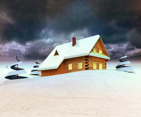 Mountain cottage with trees dark sky evening