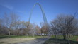 Timelapse St. Louis Arch with tourists walking in front of it