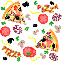Vector seamless pattern - pizza ingredients and pizza slices