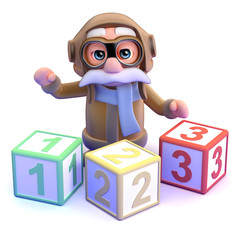 Pilot teaches counting with wooden blocks
