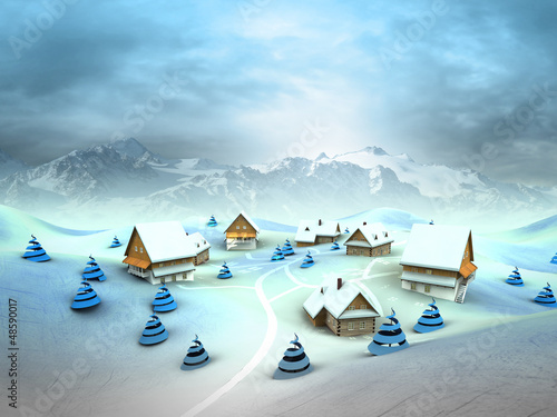 Leinwandbild Motiv Winter village environment with high mountain landscape