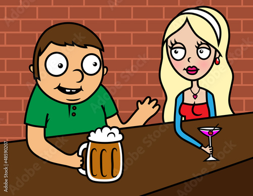 Date - couple drinking in bar
