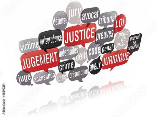 nuage de mots bulles 3d : justice