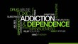 Addiction toxic dependence word tag cloud animation
