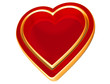 3d red gold heart, happy valentine's day, love heart