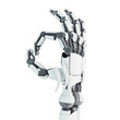 Isolated robotic arm showing Ok on white background