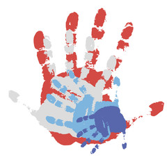 four prints of a human hand.Vector illustration