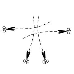 Silhouette of scissors and stroke-puntkir a line.Vector illustra