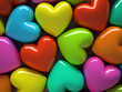 Multicolored hearts isolated on background