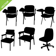 Chair silhouettes vector