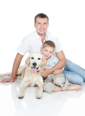 A young family with a dog