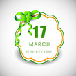 Saint Patrick's Day background or greeting card with green ribbo