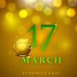 Saint Patrick's Day background or greeting card with golden pot