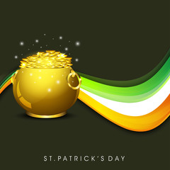 Happy St. Patrick's Day greeting card or background with golden