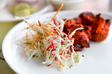 Spicy tandoori chicken and cabbage salad