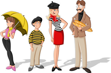 Fashion french cartoon family. Cartoon people.