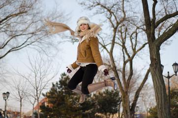 Winter  Girl Jump for Fun
