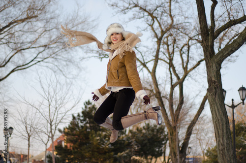 Winter  Girl Jump for Fun